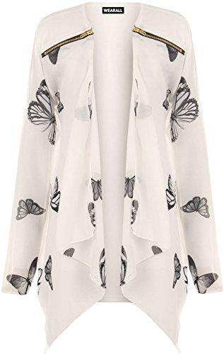 grande taille pour femmes Mousseline Manches Longues Imprimé Papillon Cardigan zippé Haut Femme - Synthétique, Crème, 95% polyester 5% élasthanne 95% polyester, Femme, 44