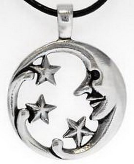 Blazers Jewelry 1985 - Moon Stars Man Silver Pewter Pendant Leather ()