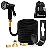 Expanding Garden Hose Pipe - Kitclan 100ft Expandable Stretch Hosepipe with Solid Brass Connector, Latex Water Hose with 8 Pattern Spray Nozzle for Car Washing, Garden Watering, Cleaning Yards and Showering Pets, Black