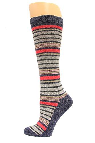 (Wise Blend Angora Stripe Knee High Socks, 1 Pair, Denim, Medium, Shoe Size W 6-9 )
