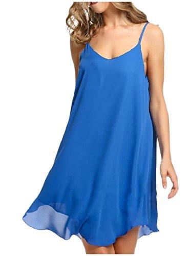 Coolred-femmes Backless Fronde Slim Fit En Mousseline De Soie Couleur Unie Robe Courte Bleu Foncé