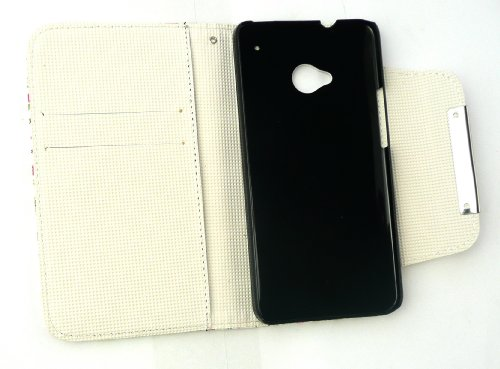 Emartbuy ® Stylus Pack Para HTC One Caja De La Carpeta De Lujo / Cubierta / Bolsa Floral De Rosa / Verde Con Ranuras Para Tarjetas De Crédito + Metallic Mini Hot Pink Stylus + Protector De Pantalla