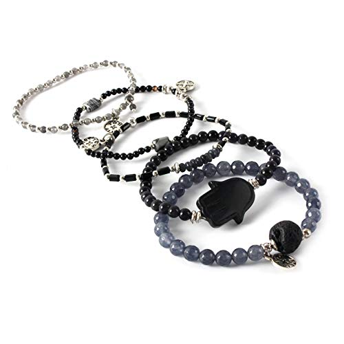 - tom+alice Beaded Bracelets for Women Stackable Handcut Natural Stones 5 pcs Ermish Stretch Set Bangle