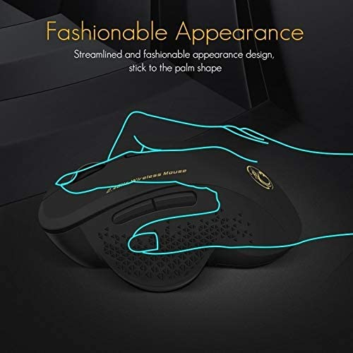 Color : Red Black ONEMO Wireless Mouse 2.4G Office Mouse 6-Button Gaming Mouse