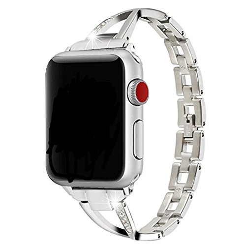 YJYdada with Connection Adapter Luxury Alloy Crystal Strap Band for Apple Watch (38MM, Silver)