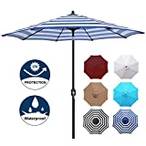 Blissun 9' Patio Umbrella Aluminum Manual Push Button Tilt and Crank Garden Parasol (Blue and White)