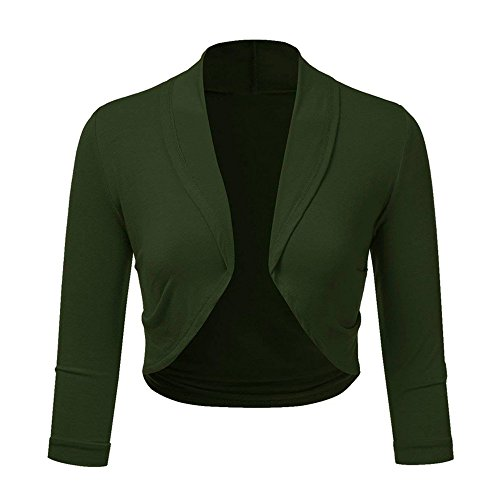 Shrug Sleeve Jacket Plus Front Cardigan Long Mini Solid Blouse Cropped for Green Open Outerwear XOWRTE Summer Coat Women Size 6AYg7Wqn