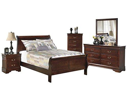 - Ashley Alisdair 5PC Bedroom Set E King Sleigh Bed One Nightstand Dresser Mirror Chest in Dark Brown