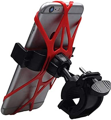 Universal Adjustable Bicycle Motorcycle Phone Holder red/&black color Compatible with all type of iPhones Xs Max XR X 8 7 6 5 Plus Samsung Galaxy S9 S8 S7 S6 S5 Note 9 8 7 6 Bike Mount Phone Holder