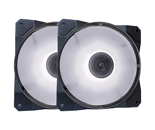 APEVIA CO212L-WH Cosmos 120mm White LED Ultra Silent Case Fan w/ 16 LEDs & Anti-Vibration Rubber Pads (2 Pk)