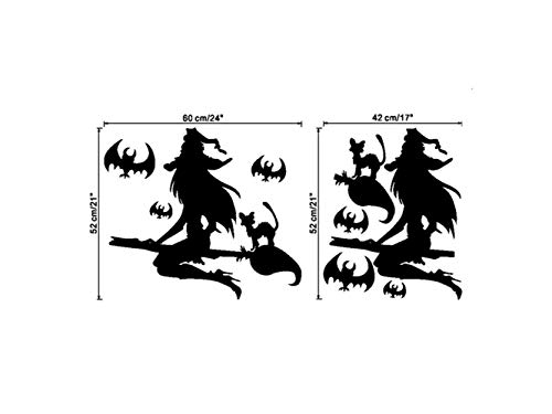 OVIIVO Halloween Wow Halloween Witch Wall Art Home Decoration Wall Mirror Window Stickers Removable ()