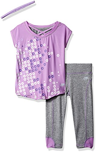 Marika Big Girls' Capri Sets with Headband,Lilac View/Gray Heather,M(10/12)