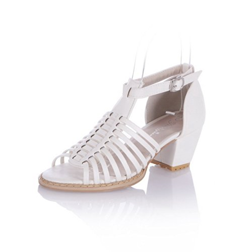Chunky Materiale Girls Pu Uk Open Bianco Fibbia Voguezone009 Heel Sandali Con 5 Morbido Solidi 4 Heels Kitten Toe WHzRczTqX