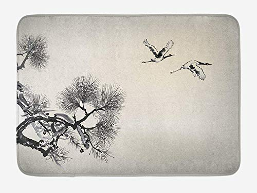 Birds Bath Mat, Ink Style Japanese Pine Tree with Birds Friends Hope Swallow Flying to The Future, Plush Bathroom Decor Mat with Non Slip Backing, 23.6 W X 15.7 W Inches, Ecru Black