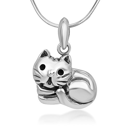 Chuvora 925 Sterling Silver Sleeping Cute Cat Happy Kitten Pendant Necklace, 18 inches Chain - Nickel Free