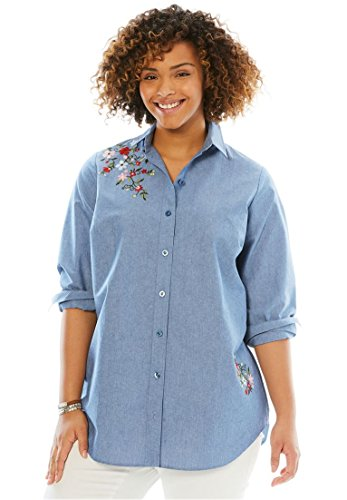 Button Cuff Print Blouse - Woman Within Plus Size Perfect Button Down Shirt, Chambray Floral Embroidery, M
