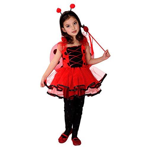 Children Girls Ladybug Costume Halloween Outfit Fancy Dress Headgear Wing Set (6-7) Red