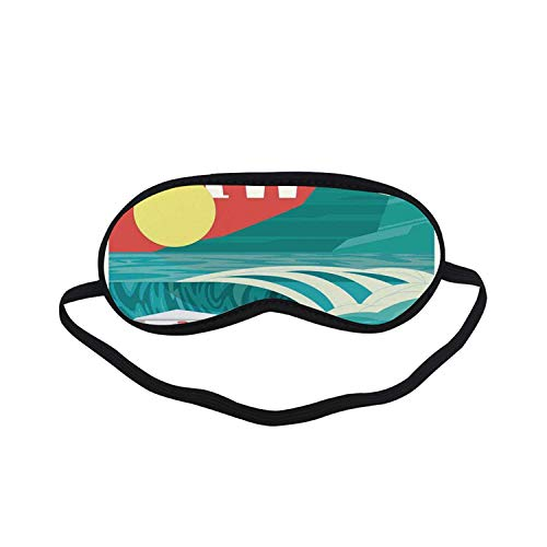 Hawaiian Decorations Fashion Black Printed Sleep Mask,Hawaii Sandy Coastline Sunny Day Surfboard Tropics Famous Honeymoon Destination for Bedroom,7.1
