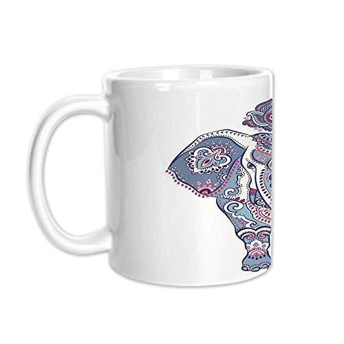 - Elephant Mandala Stylish White Printed Mug,Paisley Indian Lotus Flowers Leaves Symbol of Rain Bringing for Living Room Bedroom,3.1