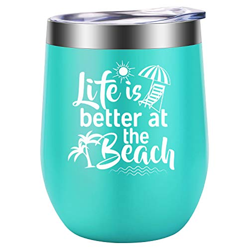 Life is Better at the Beach - Beach Gifts for Women - Funny Birthday, Summer Wine Gift for Wife, Mom, Grandma, Gigi, Best Friend, Coworker, Sea Lover for RV, Boating, Camping - LEADO Wine Tumbler Cup (Best Friends At The Beach)