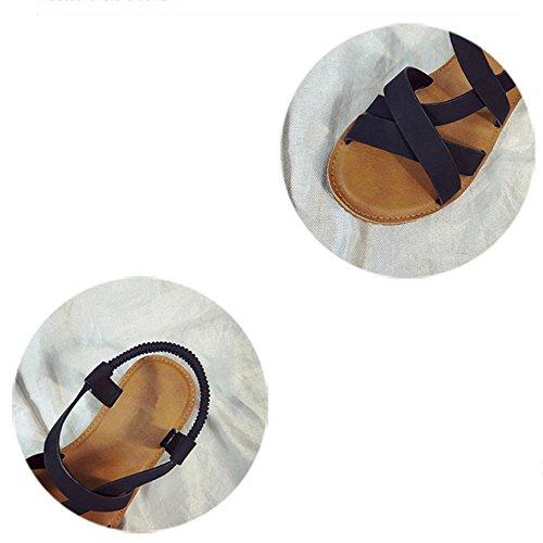 CN35 Toe Chaussures UK3 EU36 Straps Eté 5 Taille Plat Couleur Cross Noir ZHANGRONG Blanc Sandales Étudiant Plage Femme Chaussures wRxIZTZqv