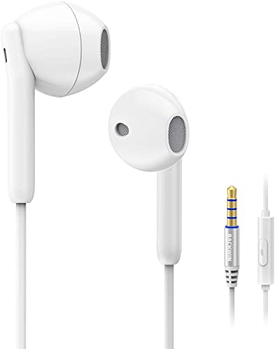 Wired Earbuds Earphones, BACKWIN Ergonomic Comfort-Fit in Ear Headphones with Microphone for iPhone iPad Samsung Android MP3 MP4 White