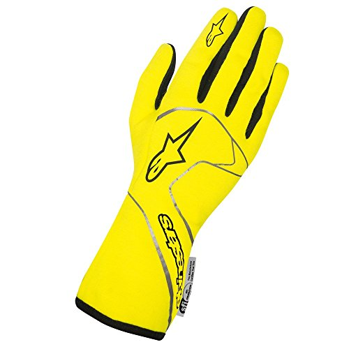 Alpinestars 3551117-551-M Tech 1 Race Gloves, Yellow Flourecent, Size M, SFI 3.3 Level 5/FIA 885
