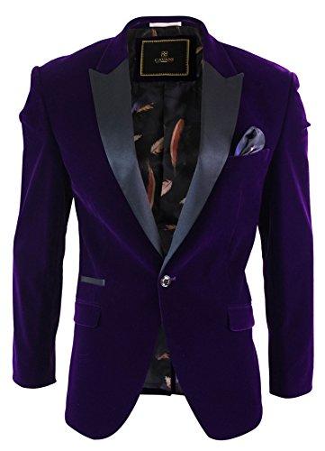 Bottone Sera Con Cavani Vellutato Slim Elegante Fit Formale Viola Uomo Blazer Da 1 Giacca SqW8vwBS6