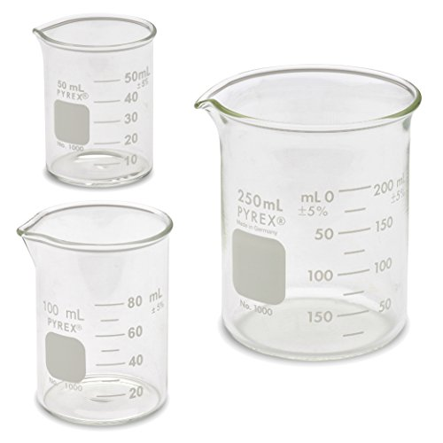 Corning Pyrex® #1000 Griffin Low Form, Glass Beaker Set - 3 Sizes - 50ml, 100ml, - Glass Ml 250