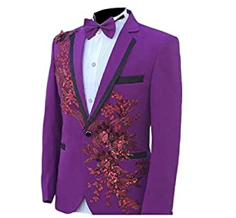 Howely Mens Stage Clothes Skinny Embroidery 2 Pieces Suits Blazer & Trousers Purple 2XL