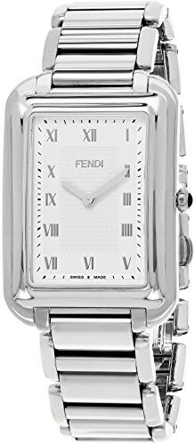 Fendi Classico Rectangular Swiss Made Classic Mens Thin Watch Stainless Steel Metal Band - Analog Quartz White Face with Sapphire crystal Luxury Rectangle Dress Watches For Men - Mens Vintage Fendi