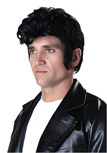 (Fun Costumes Adult Deluxe Grease Danny Black Wig with Sideburns Standard )