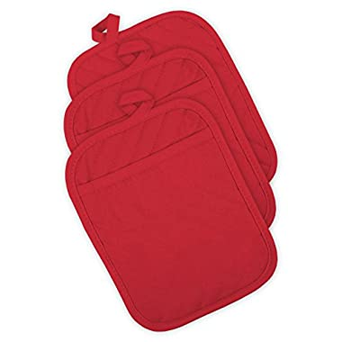 DII 100% Cotton, Machine Washable, Everyday Kitchen Basic, Heat Resistant, Quilted Pocket Potholder, Cooking and Baking, 8 x 8 , Set of 3- Tango Red
