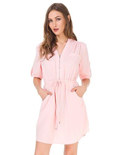MOQUEEN Womens Casual Chiffon Shirt Dress Long Sleeve Drawstring Roll-up Blouses Front Zipper Pocket (Pink Dress Collar Mandarin)