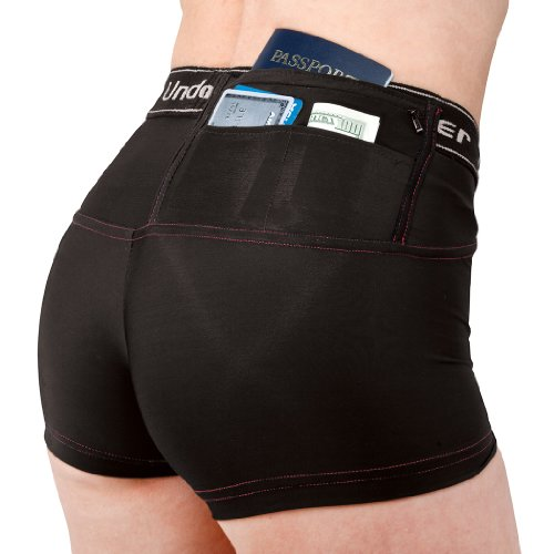 Undertech UnderCover Travel Safe Products Women's Concealment Hidden Pocket Money Jewelry Passport Short Shorts White Black - XS S M L XL 2X from Travel Safe Products