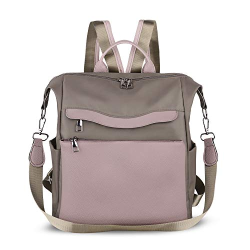 - Women Backpack Purse Waterproof Nylon PU Leather Anti-theft Rucksack Lightweight Shoulder Bag Ladies Travel bags(Grey)