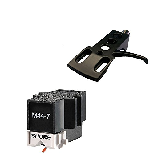 Shure M44-7 Cartridge with BLACK Premium Headshell- fits Technics Stanton by Shure
