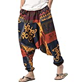 PERDONTOO Men Women Cotton Harem Yoga Baggy Genie Boho Pants (30, Style 1)