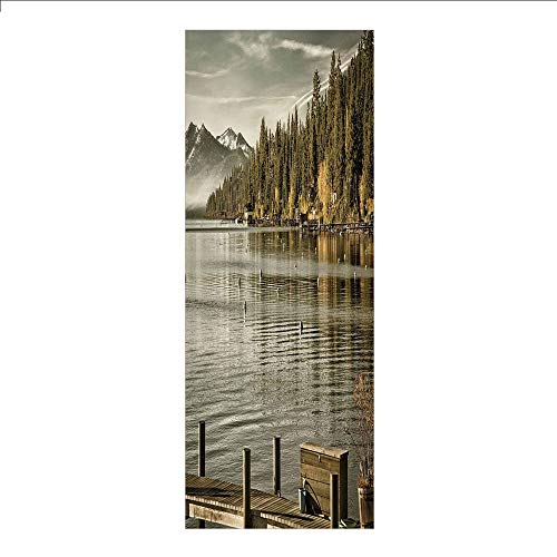 Decorative Privacy Window Film/Trees at Lakeside Carnelian Bay Tahoe California USA Boardwalk Tranquil Scene/No-Glue Self Static Cling for Home Bedroom Bathroom Kitchen Office Decor Green Sage Green