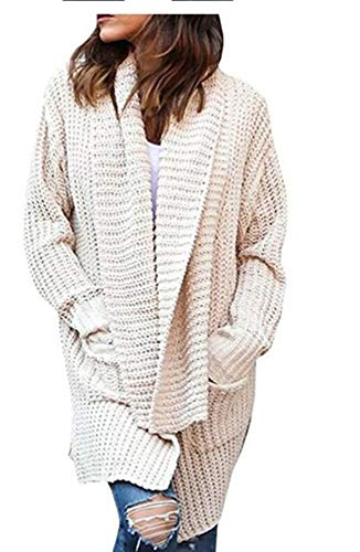 Blanco Cárdigan De Capa Acogedora Otoño Asimétrico Abrigo Mujer Punto Cálido Invierno vSvAqp