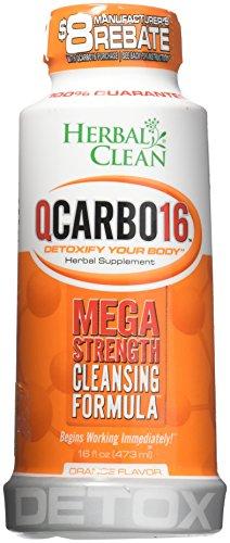 Herbal Clean QCarbo16 One-Step Same-Day Detox Drink - Herbal Supplement - Orange Flavor (16 Oz)