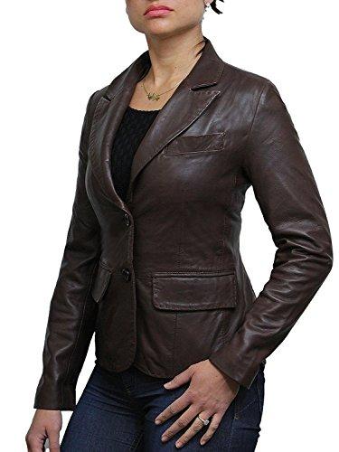Cuir Manteau Regardez Mesdames Femmes Veste Marron Designer Biker Slim Fit Blazer Brandslock wZq8IpAw
