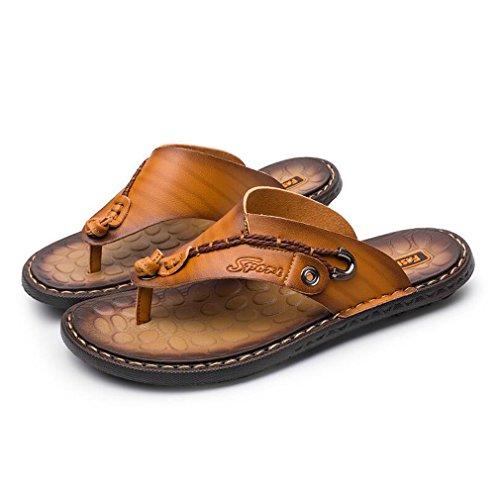 Flip rutschfeste Lässig Gelb Komfortable Hausschuhe Klassische Leichte Sandalen Flops Thongs Leder männer Mode Junkai Sommer fn4AwXqw
