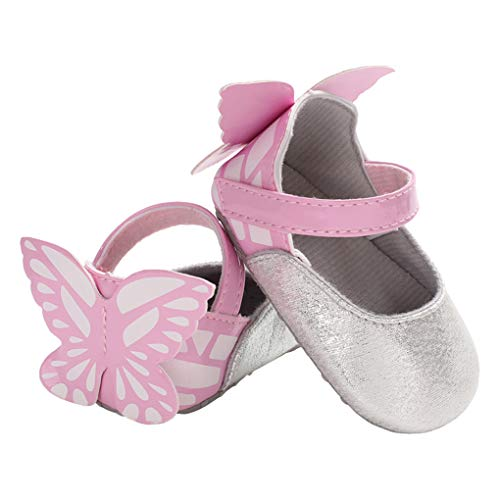 Baby Girls Butterfly Sparkle Mary Jane Slip On Wedding Princess Dress Crib Shoes Silver Size L