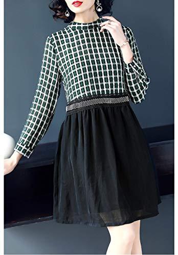 Veste Vestito Si Manica Linea Alta Una Cotiledone Vita Womens Lunga Girocollo Verde qExT5v