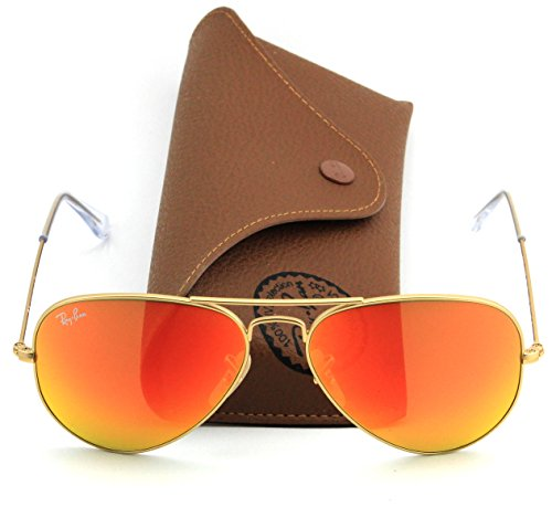 Ray Ban Sunglasses Aviator Metal RB 3025 55 mm Gold Frame,Orange Mirror Lens, (112/69) Flash Series - Aviators Ray Colored Ban Lenses