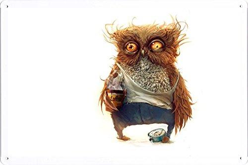 - Abstract Sign - Owl Coffee Alarm Clock 4778 Metal Tin Poster