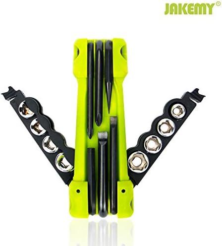 JAKEMY Bike Repair Tool Kit – 17-Function Bike Multi Tool for Mountain Biking and Cycle Repair with Socket, Knife, Multi Screwdriver
