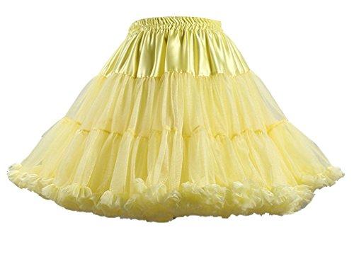 Femme Vintage Jaune Petticoat Lumire en Underskirt Rock Tulle Rockabilly Courte Petticoat Jupe rTqxwprR