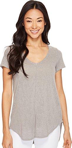 Mod-o-doc Women's Linen Blend Sweater Short Sleeve V-Neck Tee Grey (Linen Blend Sweater)